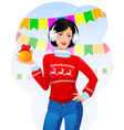 Girl with Christmas gift vector image vector image