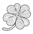 Hand drawn four leaf clover for adult coloring vector image