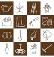 Line Brown Icons Gardening Equipment vector image