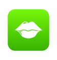 lips icon green vector image