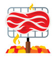 meat on a barbecue grill flat style vector image vector image