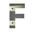 perforated metal letter F vector image vector image