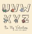 retro valentine alphabet - u v w x y z vector image