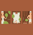 sauna banners man and woman vector image vector image