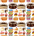 Seamless different kind of desserts vector image