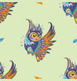 seamless pattern with owl and feathers vector image vector image