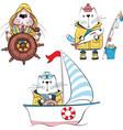set animal sailors vector image