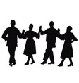 silhouettes of folk dancers vector image