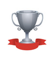 silver cup trophy award with red label vector image vector image