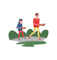 smiling father and his son walking home with pizza vector image vector image