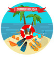 summer holidays poster with tropical island vector image