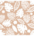 tan white print tropical floral pattern vector image