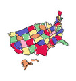 usa map hand drawn icon vector image
