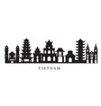 vietnam landmarks skyline in black and white vector image vector image