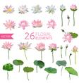 Vintage Waterlily Flowers in Watercolor Style Set vector image vector image