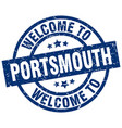 welcome to portsmouth blue stamp vector image vector image