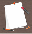 white paper with pen and marker on the table vector image