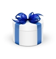 White Round Gift Box with Blue Ribbon and Bow vector image vector image