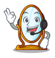 with headphone big dressing mirror isolated on vector image