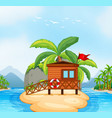 wooden resort on island vector image