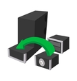 Assembling of a new PC icon cartoon style vector image