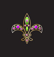 royal fleur-de-lis with gems and gold contour vector image