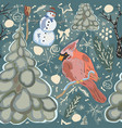 seamless winter pattern with cute snowman and vector image