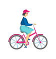 adult woman in pink hat and sunglasses riding vector image