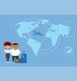 asian couple of travelers or tourists standing vector image vector image