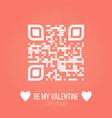 be my valentine text qr code on pink background vector image vector image