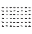 big set king crowns icon on white background vector image
