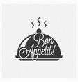 bon appetit vintage lettering on tray background vector image