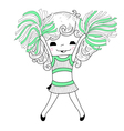 Cartoon cheerleader vector image