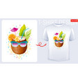 coconut t-shirt print trendy fashion design vector image vector image
