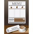 Coffee Cup Newspaper and Menu vector image