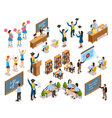 College University People Isometric Icons vector image