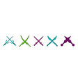 crosses sword icon set color outline style vector image