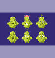 cute funny cactus characters set funny succulent vector image vector image