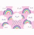 cute rainbows clouds rain cartoon decoration pink vector image vector image