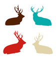 deer silhouettes set hand drawn isolated vintage vector image