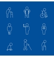 Disability thin line icons vector image vector image