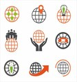 Earth Icons Set Creative Globe Elements vector image vector image