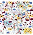 field wild flowers meadow seamless pattern vector image