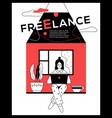 freelance - modern flat design style web banner vector image