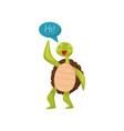 friendly green turtle waving flipper and saying hi vector image vector image