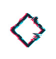 glitch distortion frame rhombus vector image vector image