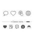 globe internet speech bubble and click icons vector image