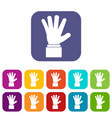 hand showing five fingers icons set vector image vector image