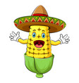 happy corn with sombrero cartoon character vector image