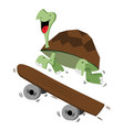 happy smiling turtle running with a skateboard vector image vector image